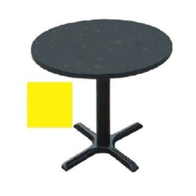 """Correll BXT24R 28 24"""" Round Bar Cafe Table w/ 1.25"""" Pressure Top, 29"""" H, Yellow/Black"""