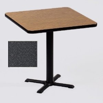 "Correll BXT30S 30"" Square Bar Cafe Table, 1.25"" Pressure Top, 29"" H, Black Granite/Black"