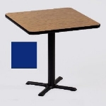 "Correll BXT36S 27 36"" Square Bar Cafe Table w/ 1.25"" Pressure Top, 29"" H, Blue/Black"