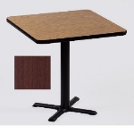 "Correll BXT24S 21 24"" Square Bar Cafe Table w/ 1.25"" Pressure Top, 29"" H, Cherry/Black"