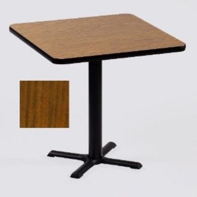 "Correll BXT36S 06 36"" Square Bar Cafe Table w/ 1.25"" Pressure Top, 29"" H, Oak/Black"