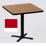 "Correll BXT30S 25 30"" Square Bar Cafe Table w/ 1.25"" Pressure Top, 29"" H, Red/White"