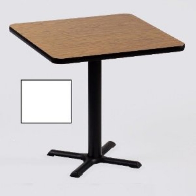 "Correll BXT24S 36 24"" Square Bar Cafe Table w/ 1.25"" Pressure Top, 29"" H, White/Black"