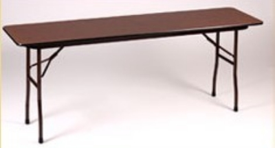 "Correll CF1896PX Folding Table w/ 3/4"" Walnut High-Pressure Top, 18x96"""