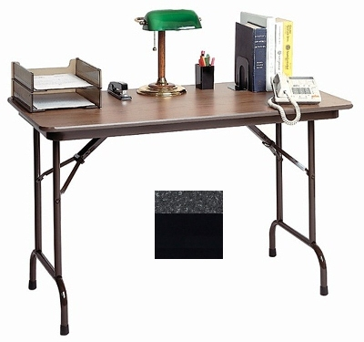 "Correll CF2436MK 07 Keyboard Height Folding Table w/ Melamine Top, 24 x 36"", Black Granite"