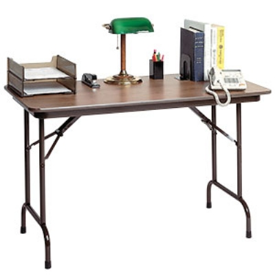 Correll CF2436MK 01 Keyboard Height Folding Table w/ Walnut Melamine Top, 24 x 36-in
