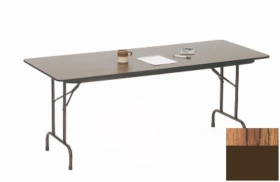 "Correll CF2460M 06 Melamine Folding Table w/ 5/8"" High Density Top, 24 x 60"", Medium Oak"