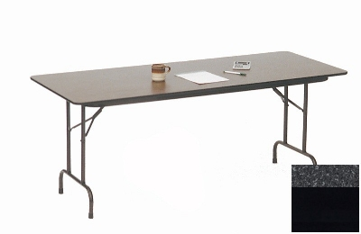 "Correll CF2496M 07 Melamine Folding Table w/ 5/8"" High Density Top, 24 x 96"", Black Granite"