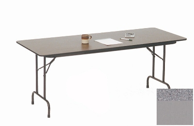 "Correll CF2496M 15 Melamine Folding Table w/ 5/8"" High Density Top, 24 x 96"", Gray Granite"