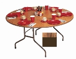 "Correll CF60MR 06 60"" Round Melamine Folding Table w/ 5/8"" High Density Top, Medium Oak"
