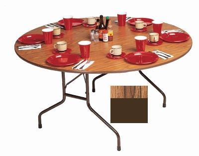 "Correll CF60PX06 60"" Round Folding Table w/ .75"" High-Pressure Top, Oak"