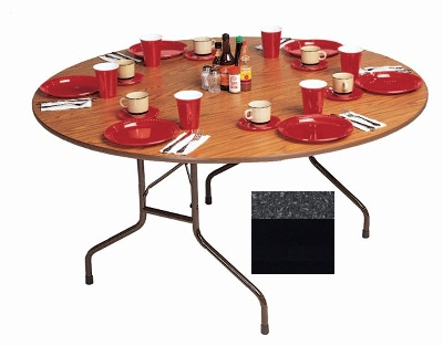 "Correll CF48MR 07 48"" Round Melamine Folding Table w/ 5/8"" High Density Top, Black Granite"