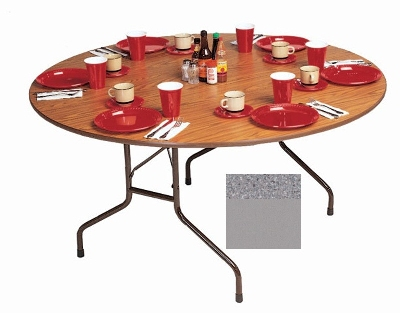 "Correll CF60MR 15 60"" Round Melamine Folding Table w/ 5/8"" High Density Top, Gray Granite"