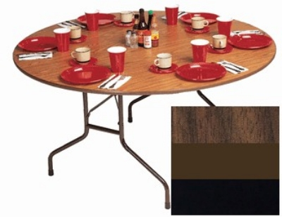 "Correll CF60P 01 60"" Round Folding Table w/ 5/8"" High-Pressure Top, Walnut"