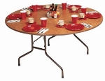 "Correll CF60P 06 60"" Round Folding Table w/ 5/8"" High-Pressure Top, Oak"