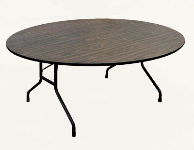"Correll CF60MR 01 Folding Table w/ Walnut Melamine Top, 60"" Round"