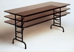 Correll CFA3072M 01 Folding Table w/ Walnut Melamine Top, Adjustable, 30 x 72""