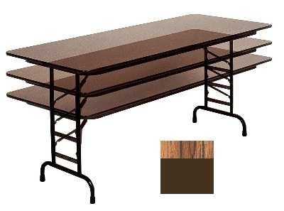 "Correll CFA2460PX 06 Folding Table w/ .75"" High-Pressure Top, Adjustable Height, 24 x 60"", Oak"