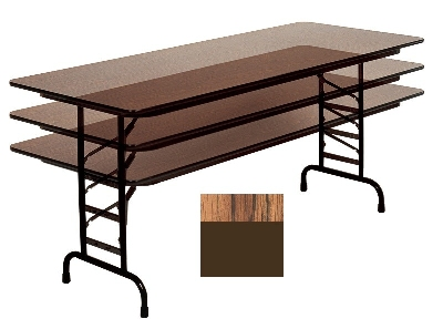 "Correll CFA3072M 06 Melamine Folding Table w/ 5/8"" Top, Adjustable Height, 30 x 72"", Medium Oak"
