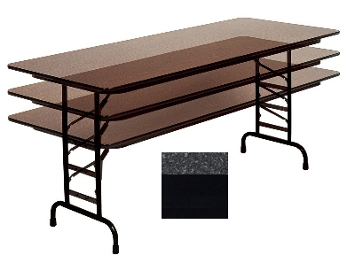 "Correll CFA2448M 07 Melamine Folding Table w/ 5/8"" Top, Adjusts to 32"", Black Granite"