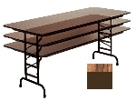 "Correll CFA3072P 06 Folding Table w/ 5/8"" High-Pressure Top, Adjustable Height, 30 x 72"", Oak"