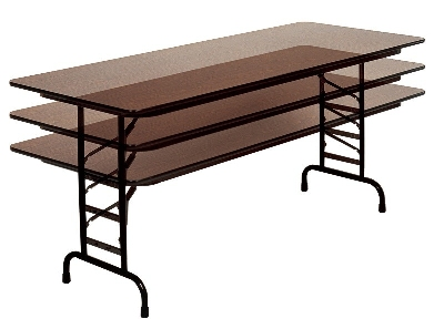 "Correll CFA2472M 01 Melamine Folding Table w/ 5/8"" Top, Adjustable Height, 24 x 72"", Walnut"
