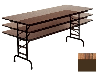 "Correll CFA2472M 06 Melamine Folding Table w/ 5/8"" Top, Adjustable Height, 24 x 72"", Medium Oak"