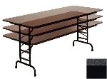 "Correll CFA2460M 07 Melamine Folding Table, 5/8"" Top, Adjustable Height, 24 x 60"", Black Granite"