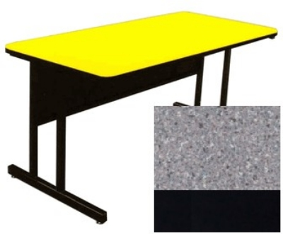 "Correll CS2460 15 26"" Desk Height Work Station, 1.25"" Top, 24 x 60"", Gray Granite/Black"