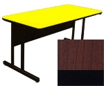 "Correll CS2460 21 26"" Desk Height Work Station w/ 1.25"" Top, 24 x 60"", Cherry/Black"