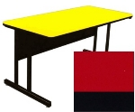 "Correll CS2448 25 26"" Desk Height Work Station w/ 1.25"" Top, 24 x 48"", Red/Black"
