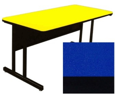 "Correll CS2448 27 26"" Desk Height Work Station w/ 1.25"" Top, 24 x 48"", Blue/Black"