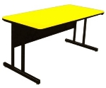"Correll CS2460 28 26"" Desk Height Work Station w/ 1.25"" Top, 24 x 60"", Yellow/Black"