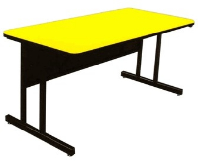 "Correll CS2472 28 26"" Desk Height Work Station w/ 1.25"" Top, 24 x 72"", Yellow/Black"