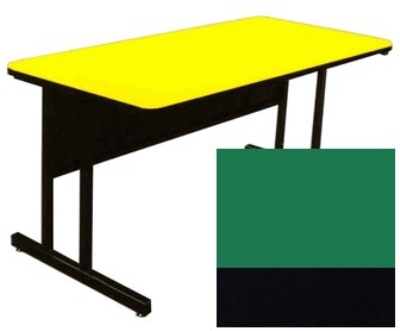 "Correll CS3072 29 26"" Desk Height Work Station w/ 1.25"" Top, 30 x 72"", Green/Black"