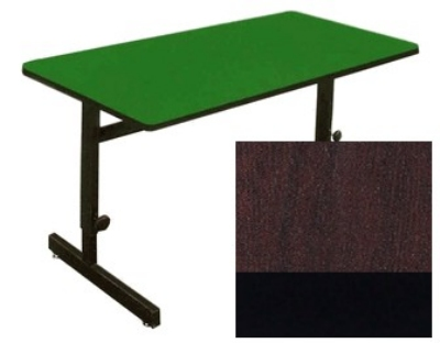 "Correll CSA2472 01 Desk Height Work Station, 1.25"" Top, Adjust to 29"", 24 x 72"", Walnut/Black"