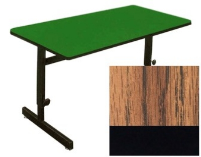 "Correll CSA2448 06 Desk Height Work Station, 1.25"" Top, Adjust to 29"", 24 x 48"", Oak/Black"