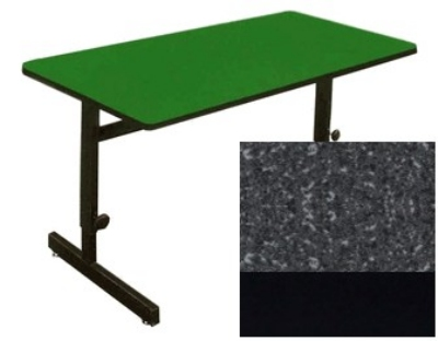 Correll CSA2472 07 Desk Height Work Station, Adjust to 29-in, 24 x 72-in, Black Granite/Black