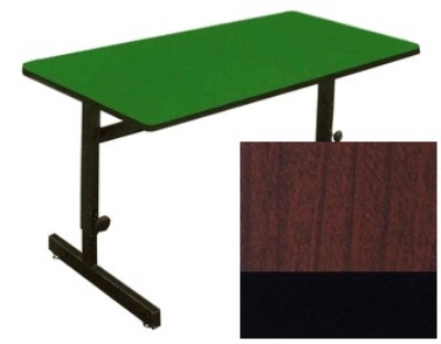 "Correll CSA2460 21 Desk Height Work Station, 1.25"" Top, Adjust to 29"", 24 x 60"", Cherry/Black"