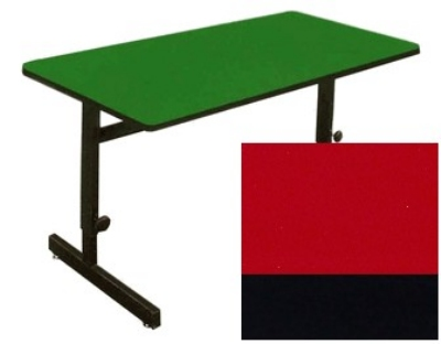 "Correll CSA2460 25 Desk Height Work Station, 1.25"" Top, Adjust to 29"", 24 x 60"", Red/Black"