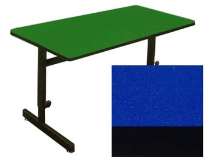 "Correll CSA3072 27 Desk Height Work Station, 1.25"" Top, Adjust to 29"", 30 x 72"", Blue/Black"
