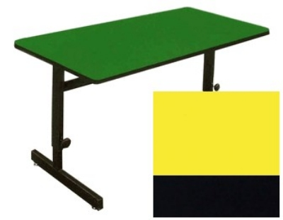 "Correll CSA3072 28 Desk Height Work Station, 1.25"" Top, Adjust to 29"", 30 x 72"", Yellow/Black"