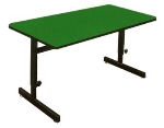 "Correll CSA3048 29 Desk Height Work Station, 1.25"" Top, Adjust to 29"", 30 x 48"", Green/Black"