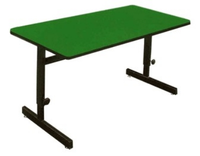 "Correll CSA2472 29 Desk Height Work Station, 1.25"" Top, Adjust to 29"", 24 x 72"", Green/Black"