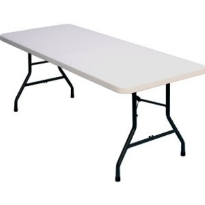 "Correll FS3096 Blow-Molded Food Service Folding Table w/ Steel Frame, 30 x 96"", Gray Granite"