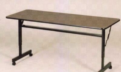 "Correll FT2448M 01 Flip Top Table - Walnut Melamine Top, Black Frame, 24x48"""
