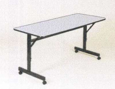 Correll FT2472M 15 Flip Top Table w/ Gray Melamine Top & Black Frame, 24 x 72-in