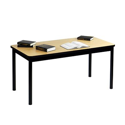 "Correll LR2472 16 Economical Library Table Wear Resistant Surface T Mold Edge 24x72"" Fusion Maple"