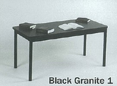 "Correll LR3048 07 Economical Library Table Wear Resistant Surface T Mold Edge 30x48"" Black Granite"