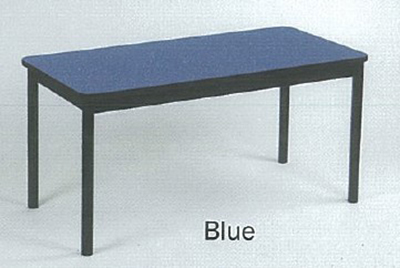 "Correll LT2472 37 Economical Lab Table w/ Wear Resistant Surface & T Mold Edge, 24x72"", Blue"